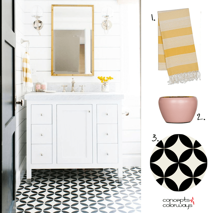 black and white bathroom, black and white tile, black door, pink and yellow, white marble, white shiplap, yellow flowers, white vanity cabinet, glass globe wall sconce, blush pink, bamboo mirror, yellow striped towels, towel ring, ochre, black and white, bright yellow