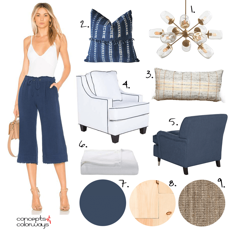 A COASTAL BEDROOM DESIGN WITH NAVY AND WHITE ACCENTS