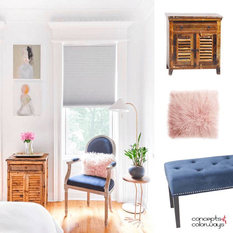 AN ECLECTIC BEDROOM WITH PINK AND NAVY ACCENTS