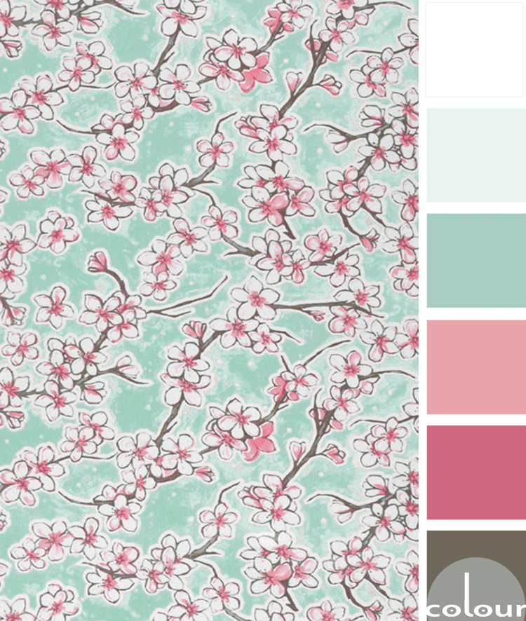 aqua cherry blossoms, pantone rapture rose, rapture rose, aqua, cherry blosssom, cherry blossom fabric, hot pink, fuchsia, bright pink, bubblegum pink, mint green, aqua green, light mint green, white fowers, brown branches, aqua and pink