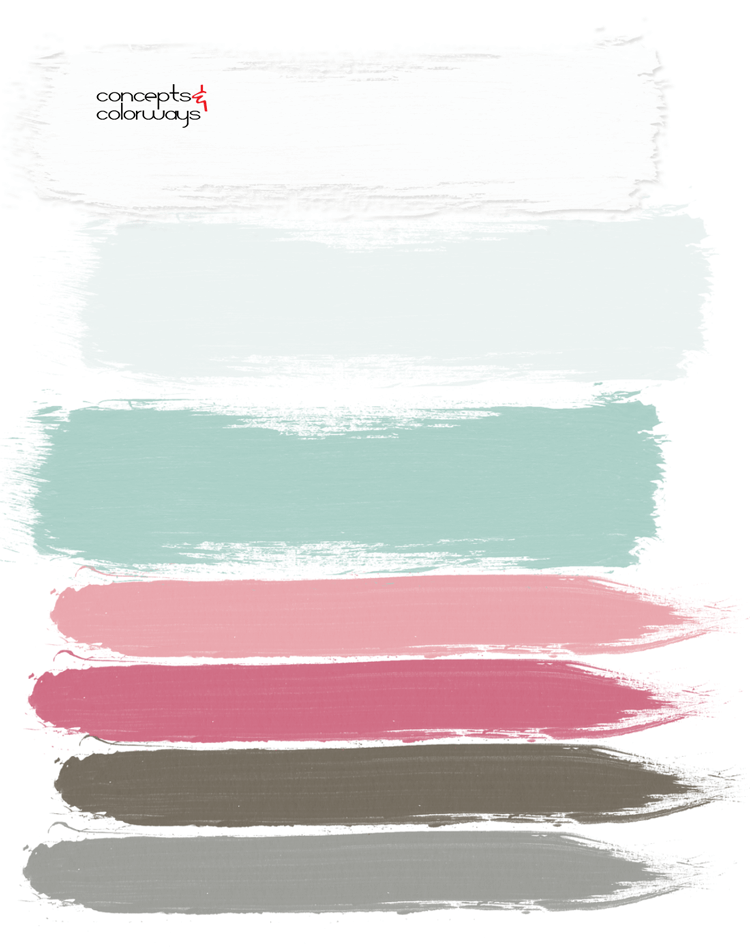 aqua cherry blossoms paint palette, pantone rapture rose, rapture rose, aqua, hot pink, fuchsia, bright pink, bubblegum pink, mint green, aqua green, light mint green, aqua and pink