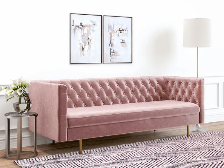 mauve sofa, mauve couch, rose pink sofa, rose pink couch, blush pink sofa, blush pink couch, pink room decor, ash rose, pantone ash rose