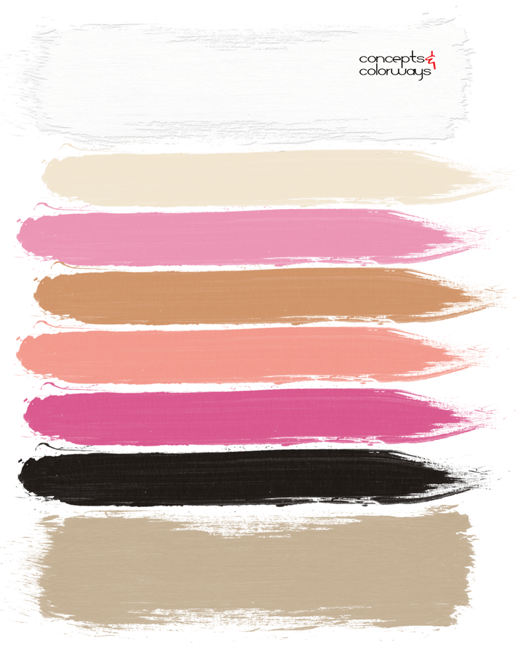 vintage pinks, bubblegum pink, peach, fuchsia pink, light tan, ivory, black and white, warm tan, paint palette