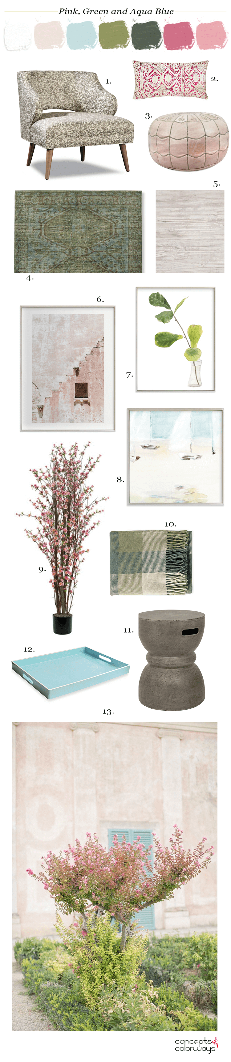 home interior, bubblegum pink, pink and green, blush pink, blush pink walls, aqua blue, turquoise blue, sage green, dark green, pretty color palettes, feminine color palette, color palette, pink blooms, blooming garden, pink pillows, blush pink pouf, turquoise and green rug, pink blossom tree