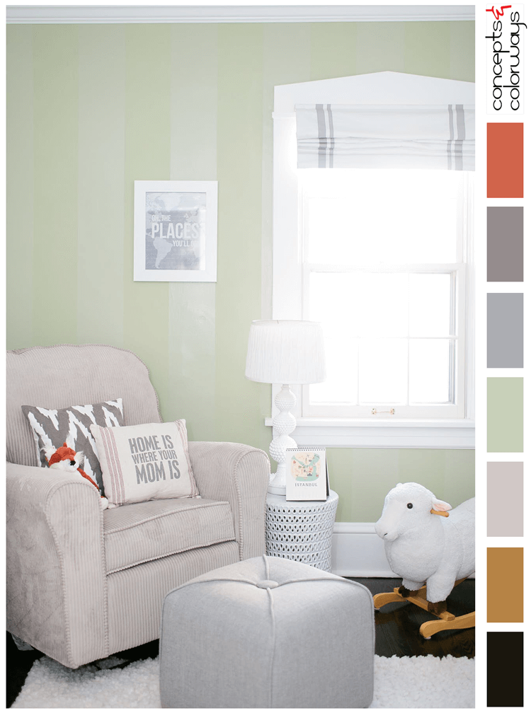 A SAGE GREEN AND WHITE COLOR PALETTE WITH A HINT OF BURNT ORANGE