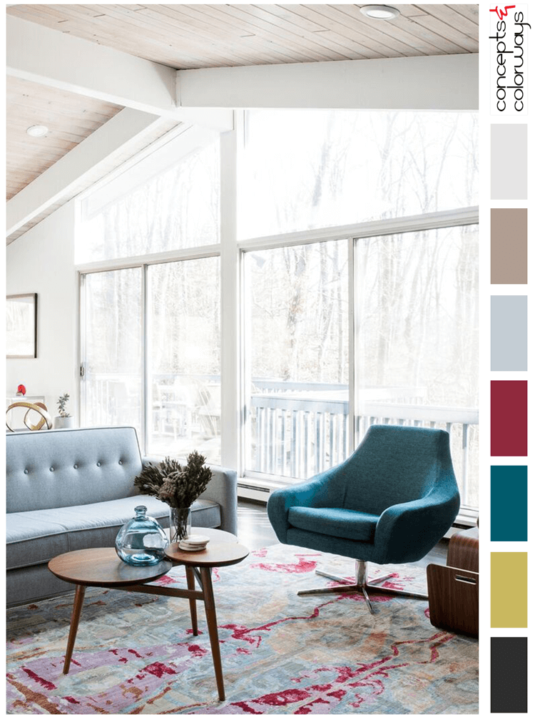 teal and pink, color palette, teal chair, mid century modern, modern sectional, teal, chartreuse, pink, retro chair, grey, taupe, black flooring, berry red, mid century modern furniture, pantone red pear, pantone ceylon yellow, pantone quetzal green, retro furniture, wood ceiling, wood ceiling planks