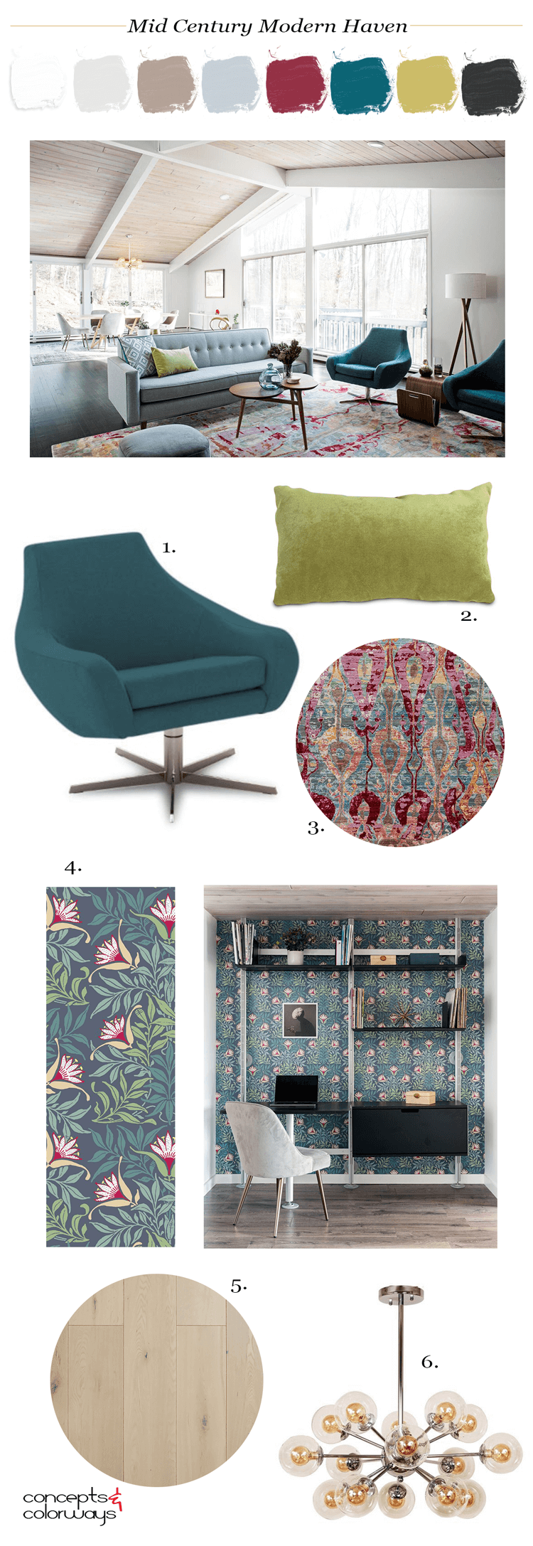 mid century modern, summer home, warm neutrals, beige, taupe, grey walls, teal, pink, teal and pink, mid century modern furniture, color scheme, chartreuse, color palette, pantone red pear, pantone ceylon yellow, pantone quetzal green