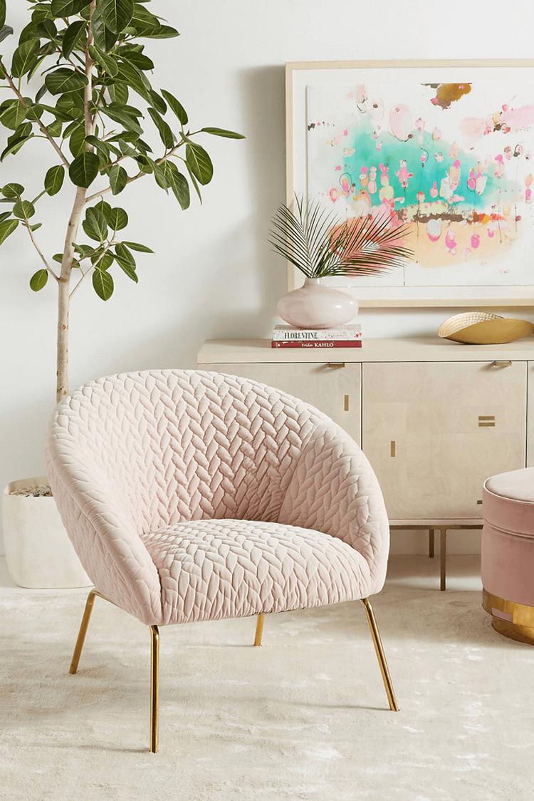 blush pink decor, blush pink chair, gold legs, retro style chair