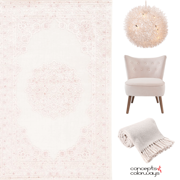 pantone almost mauve, blush pink, blush pink decor, blush pink chair, blush pink sofa, blush pink rug, pale pink, light mauve, interior color trends, light pink