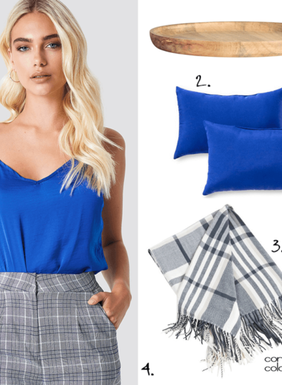 A Cobalt Blue and Gray Palette with Plaid Pattern and Natural Wood