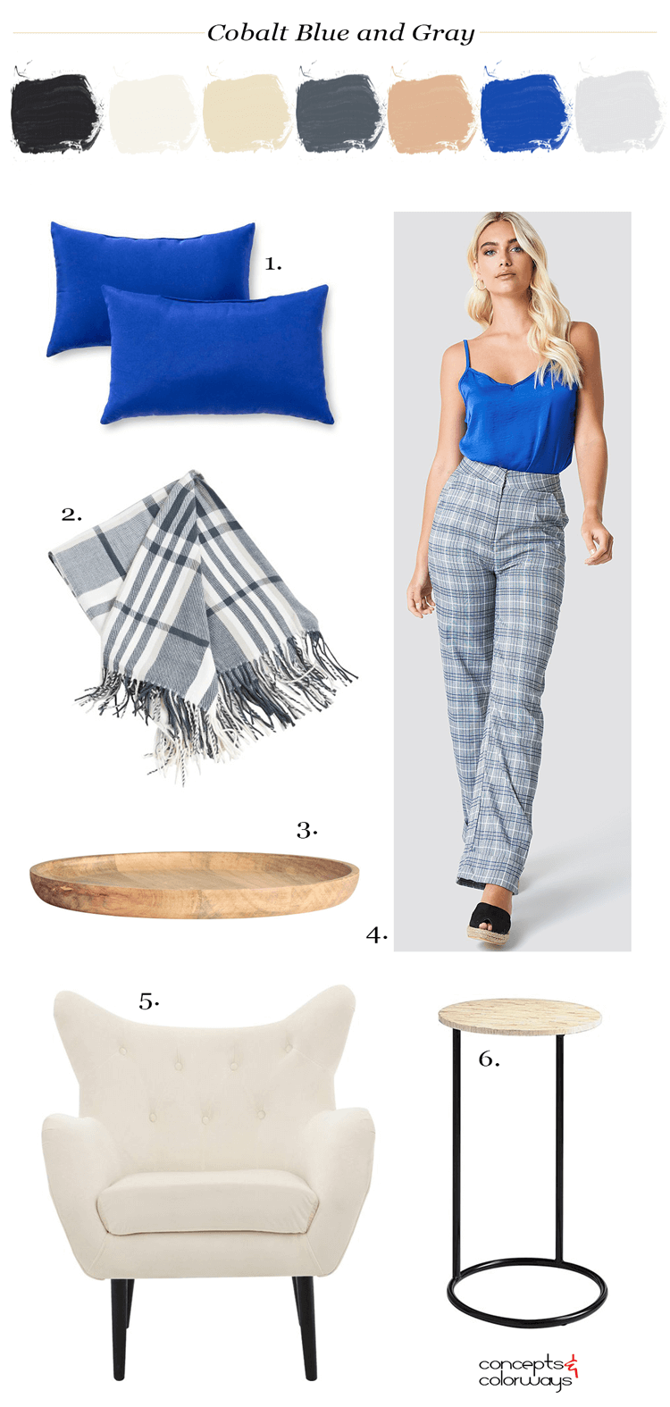 cobalt blue, plaid pattern, natural wood, blue throw pillows, plaid throw, plaid blanket, plaid throw blanket, wooden tray, plaid pants, blue and gray, cobalt blue top, pantone palace blue, warm tan, cool gray, blonde, ivory, black, round side tale, modern wingback chair