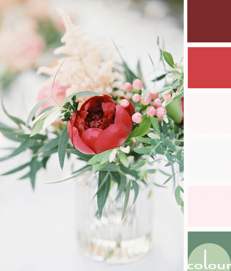 A Color Palette Inspired by Pink and Red Flowers with Mint Green Accents