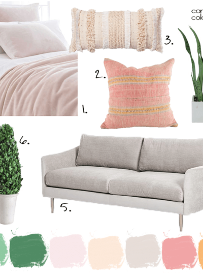 A Pink Bedroom with Peach and Green Accents