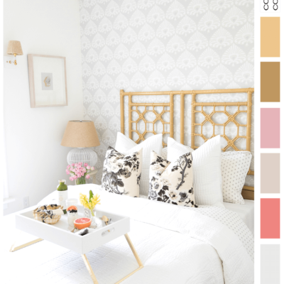 A Grey and White Color Palette with Pink and Gold Accents