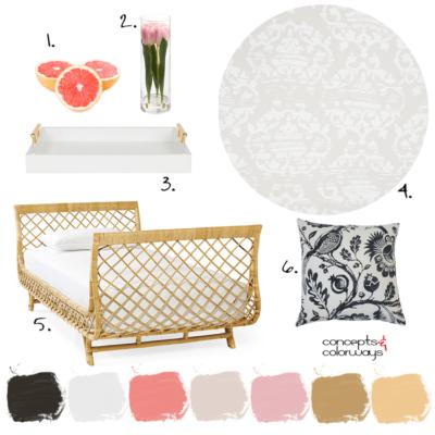 一间粉红色和金色的客房,藤条床和黑白枕头