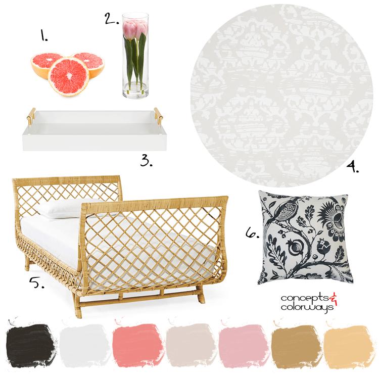 粉红色和金色,藤床,黑色和白色枕头,黑色和白色的花枕头,粉红色葡萄柚,白色的服务托盘,金色的手柄,缎子壁纸,粉红色郁金香,透明的玻璃花瓶,客人卧室,浅粉色,浅灰褐色,灰色和白色,黑色和白色的印花,金色的装饰,金色的强调
