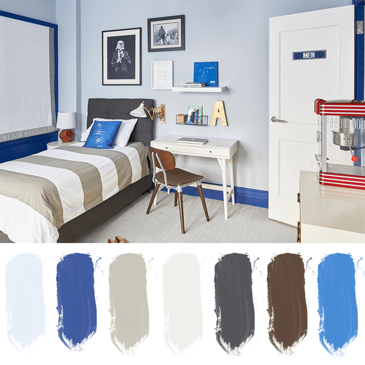 blue bedroom, boys room ideas, light blue walls, bright blue accents, bedroom color schemes