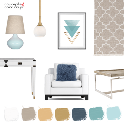 a coastal style living room with turquoise, taupe and navy accents