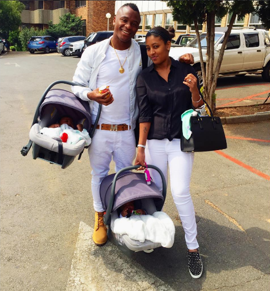 Photo of We Finally Get To See The Cute Faces Of Tsepo Masilela's Twins. View the Pics Here