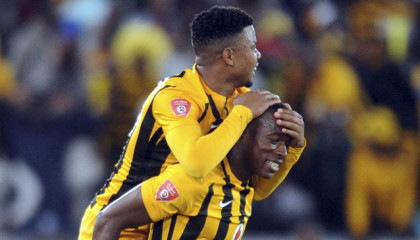 Camaldine Abraw of Kaizer Chiefs  celebrates with George Lebese of Kaizer Chiefs during the Absa Premiership match between Supersport United and Kaizer Chiefs  on 12 September 2015 at Peter Mokaba Stadium Pic Sydney Mahlangu/ BackpagePix