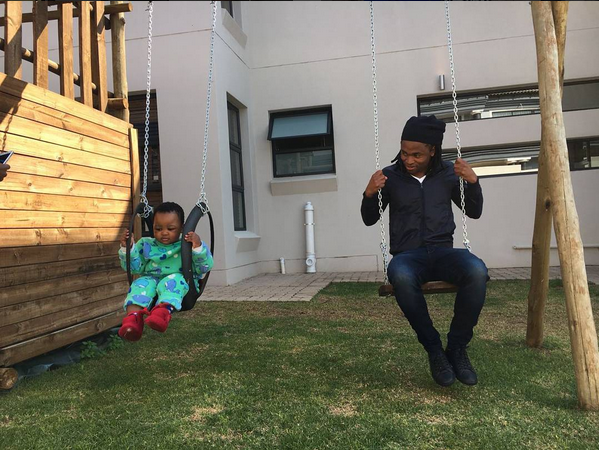 Checkout 5 Cute Photos Of Tshabalala Spending Time With His Son