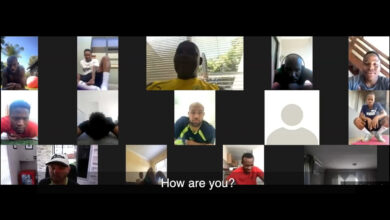 Photo of Downs squad in virtual meet-up