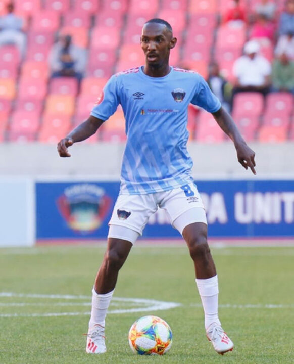 Thabo Rakhale in PSL action for Chippa United before becoming a club less star.