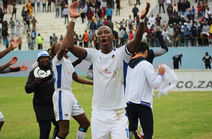 Mark Mayambela celebrating victory for Chippa United before running out his contract and becoming a club less star.