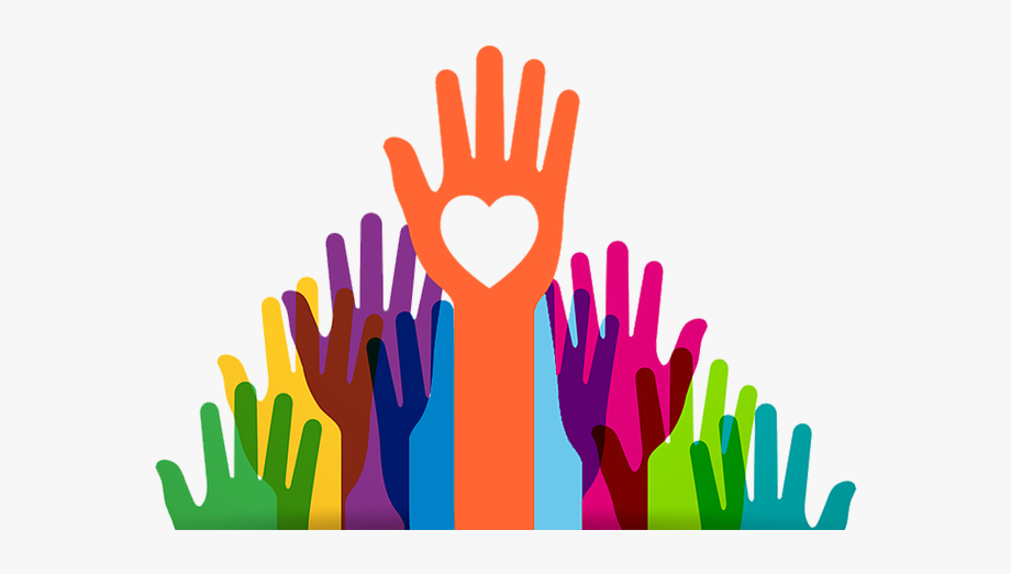 volunteer hands with heart