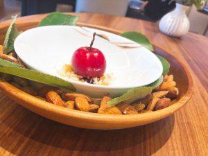 Pre-dessert joys Core by Clare Smyth Cherry Bakewell