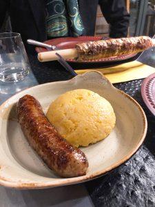 Sciatt à Porter restaurant Milan polenta with sausage