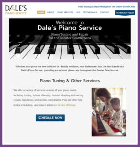 Dale's Piano Service, a Website Designed by Hummingbird Marketing Services