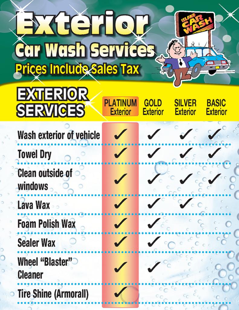 Exterior Wash Service chart - lists services