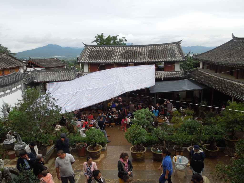My homestay family's courtyard during the party. This was taken from my room on the balcony.