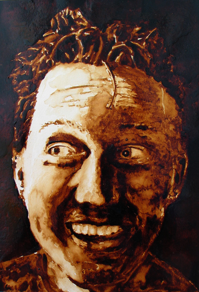 "Andrew Saur created this original ""Andy Self Portrait"" Coffee Art® painting. It features the artist being excited about being created with coffee."