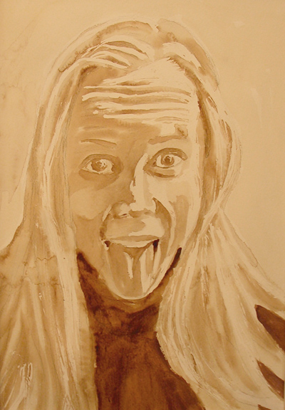 "Angel Sarkela-Saur created this original ""Angel Self Portrait"" Coffee Art® painting. It features the artist excited and on a caffeine kick."