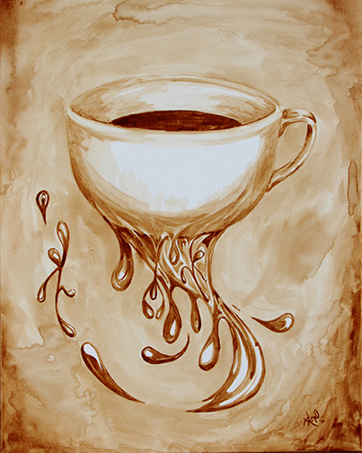 """Angel Sarkela-Saur created this original """"Bottomless Cup of Coffee"""" Coffee Art® painting. It features a coffee cup endlessly flowing coffee."""