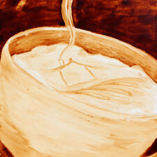 """Angel Sarkela-Saur created this original """"Coffee House"""" Coffee Art® painting. It features an image of a house in cup of coffee with steam rising from the chimney."""