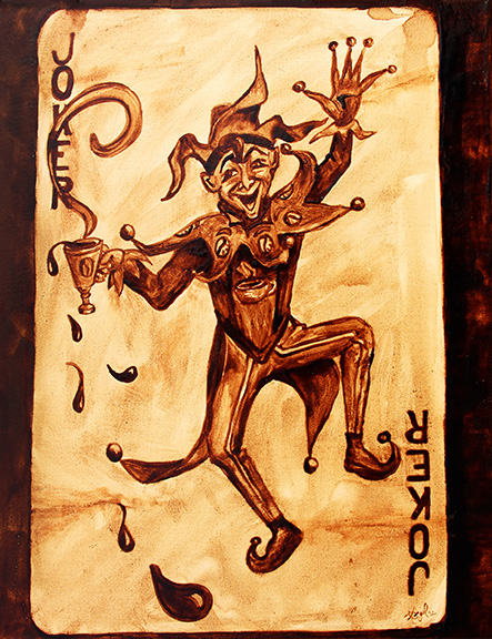 """Angel Sarkela-Saur created this original """"Coffee Joker"""" Coffee Art® painting. It features the Joker playing card spilling a cup of coffee all over."""