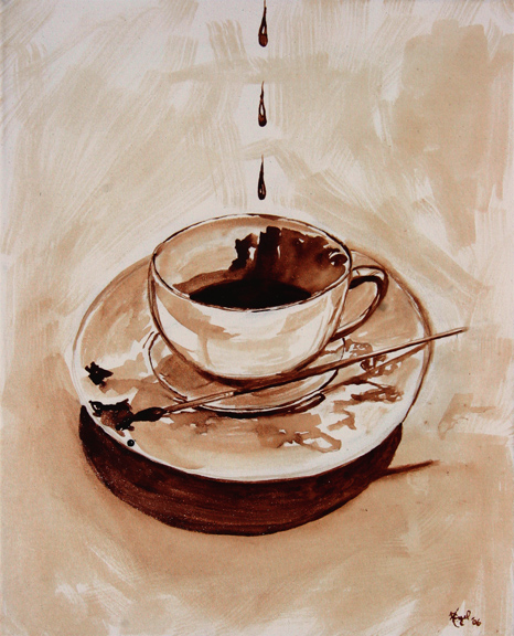 """Angel Sarkela-Saur created this original """"Coffee Palette"""" Coffee Art® painting. It features coffee dripping into a cup with a brush on the saucer used to create the works."""