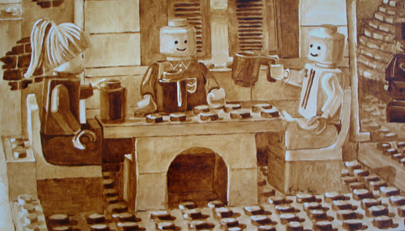"""Angel Sarkela-Saur and Andrew Saur created this original """"Coffee Shop"""" Coffee Art® painting. It features friends gathering around a table enjoying their cups of coffee."""