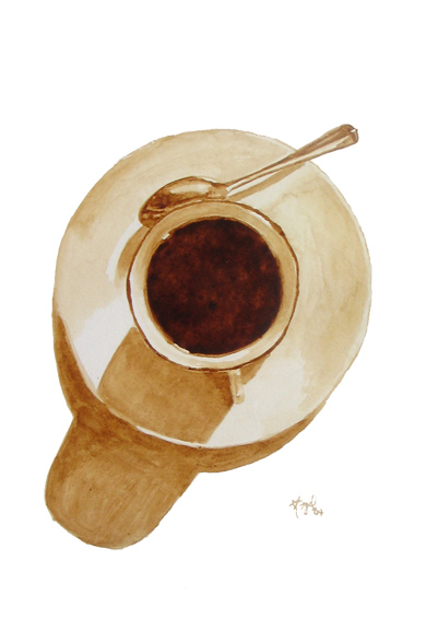 """Angel Sarkela-Saur created this original """"Coffee Spotlight"""" Coffee Art® painting. It features a cup of coffee being the center of attention."""
