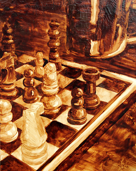 """Angel Sarkela-Saur created this original """"Coffee Strategy"""" Coffee Art® painting. It features a chess board with a coffee mug, fueling the duel."""