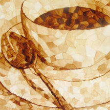 "Andrew Saur created this original ""Coffee Mosaic"" Coffee Art® painting. It features mosaic pieces forming to create a cup of coffee."