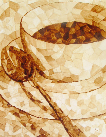 """Andrew Saur created this original """"Coffee Mosaic"""" Coffee Art® painting. It features mosaic pieces forming to create a cup of coffee."""