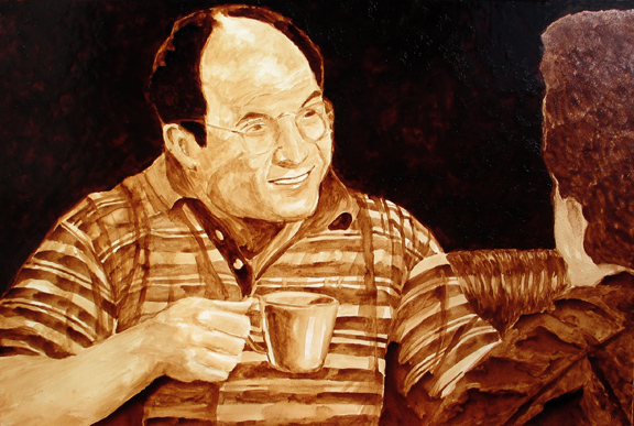 """Andrew Saur and Angel Sarkela-Saur created this original """"Costanza"""" Coffee Art® painting. It features George Costanza enjoying a cup of coffee with his pal, Jerry, at the coffee shop."""