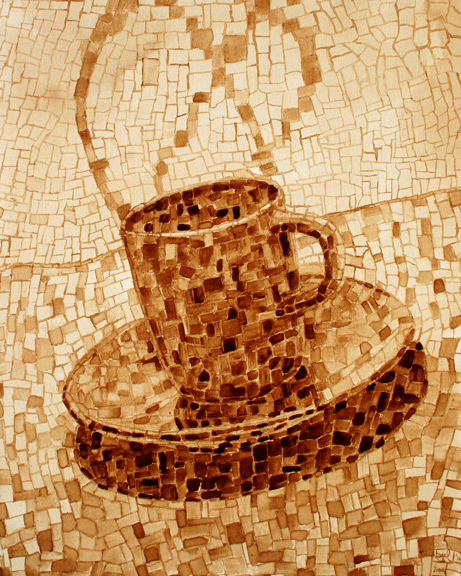 """Andrew Saur created this original """"Dabble"""" Coffee Art® painting. It features mosaic images creating a cup of coffee."""