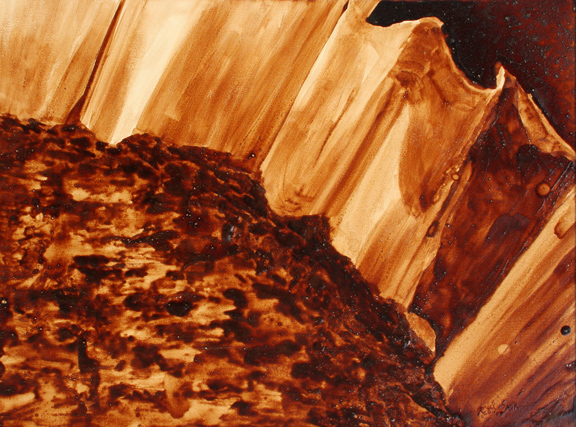 """Angel Sarkela-Saur created this original """"Drained"""" Coffee Art® painting. It features a spent filter of coffee."""