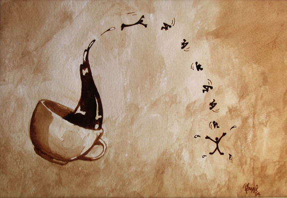 """Angel Sarkela-Saur created this original """"Exhilaration"""" Coffee Art® painting. It features an energetic coffee figure leaping out of a cup."""
