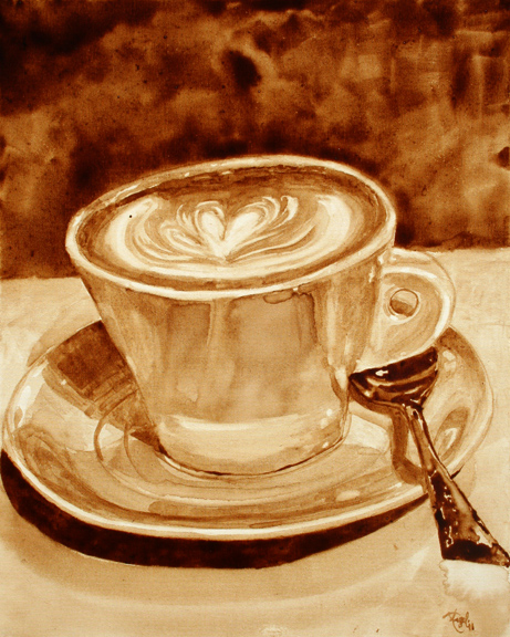 "Angel Sarkela-Saur created this original ""Flourish"" Coffee Art® painting. It features an artistic swirl in a cup of coffee."